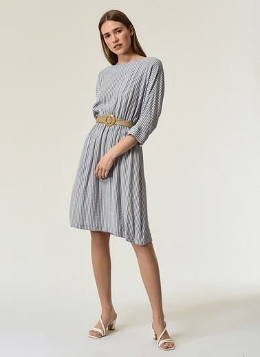 NGSTYLE Kadın Kemer Detaylı  Elbise NGKSS21EL0034 Mavi